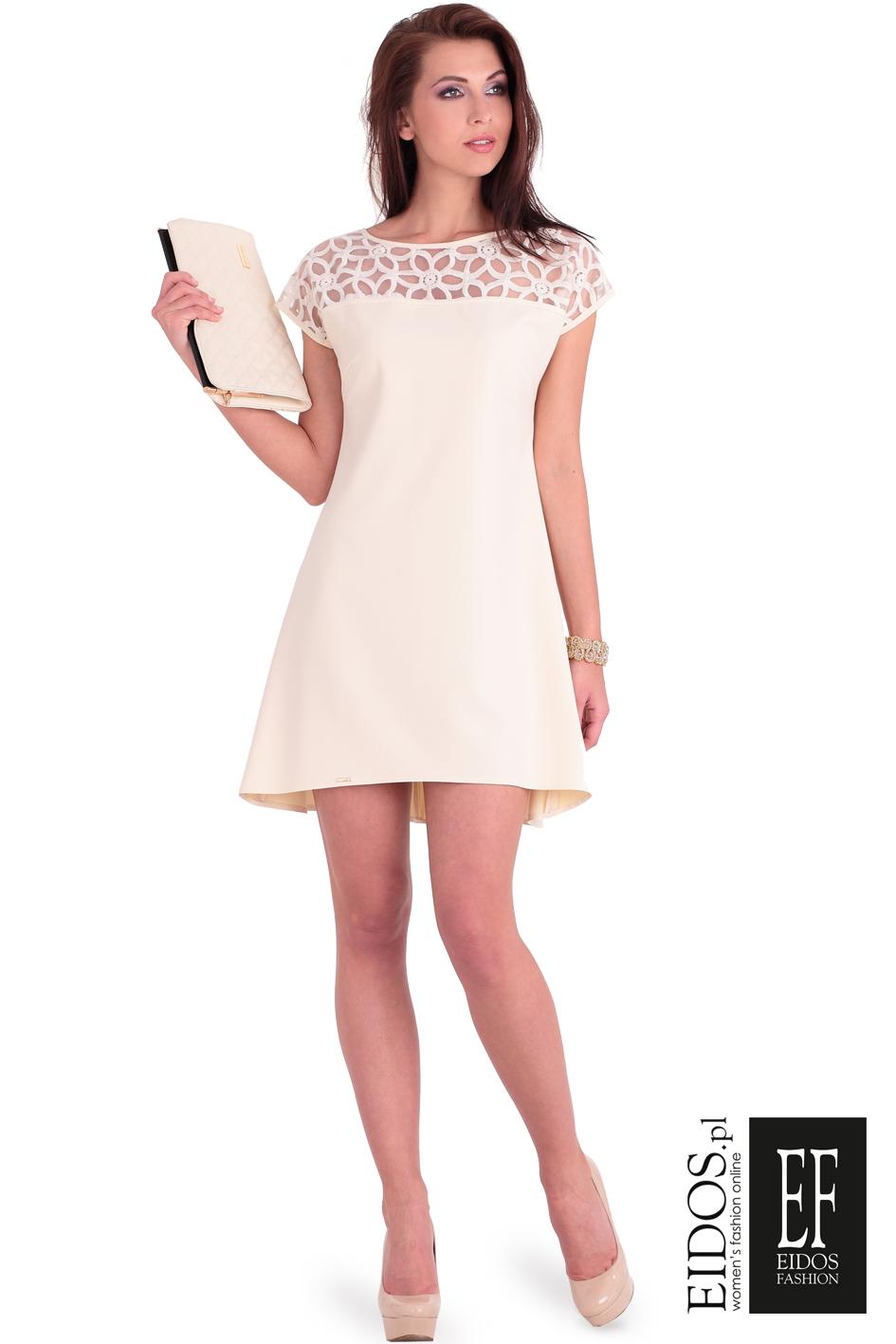 1c41368881 Jasna pastelowa sukienka MARABELLA z koronką na wesele EIDOS.pl