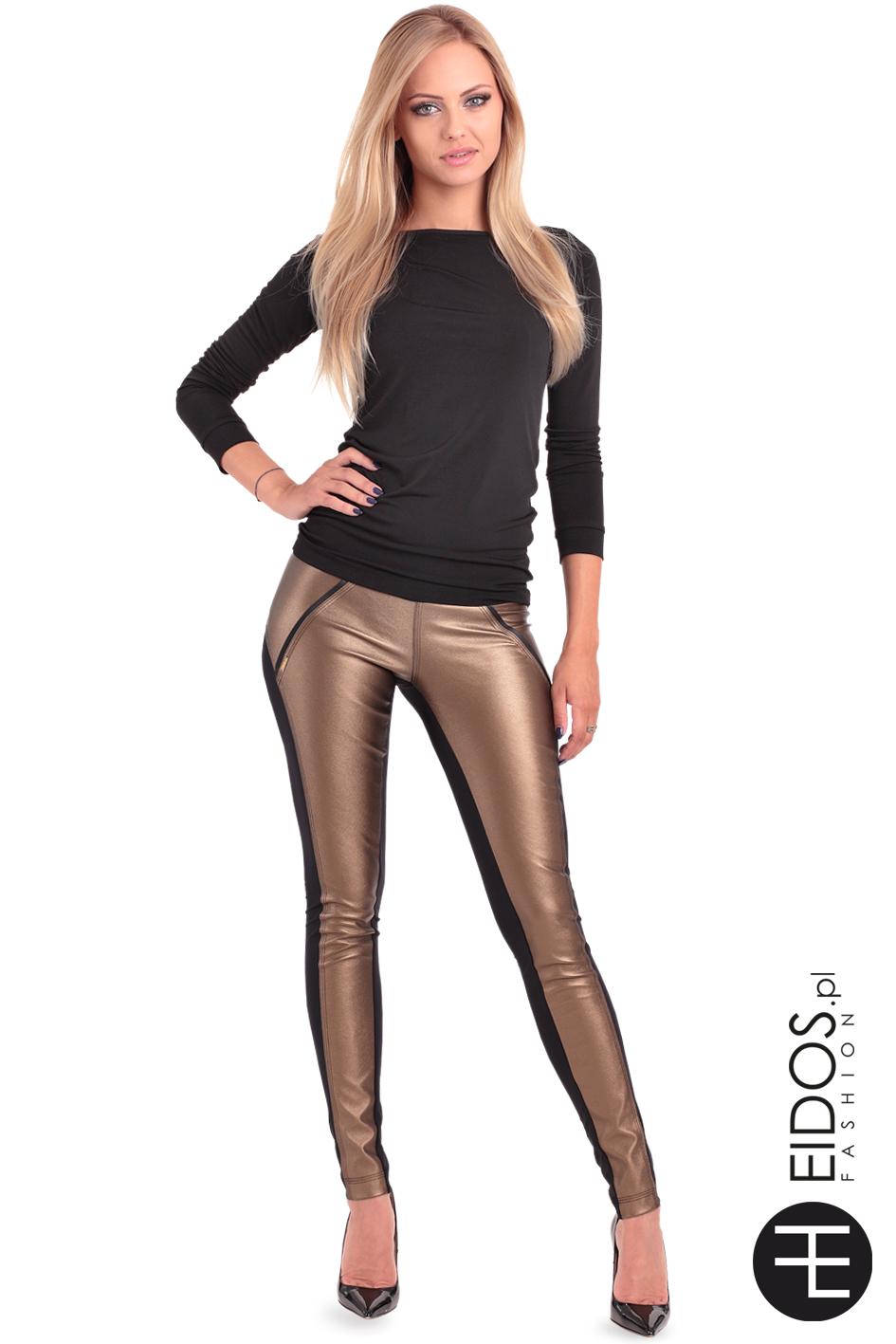 Złoto czarne błyszczące skórzane spodnie damskie BUELL GOLD