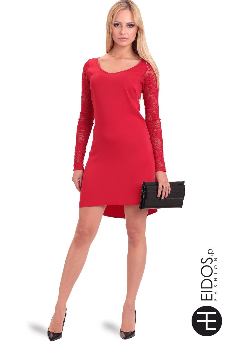 c287f853ff Czerwona sukienka z koronkowym długim rękawem SIMONE - EIDOS.pl