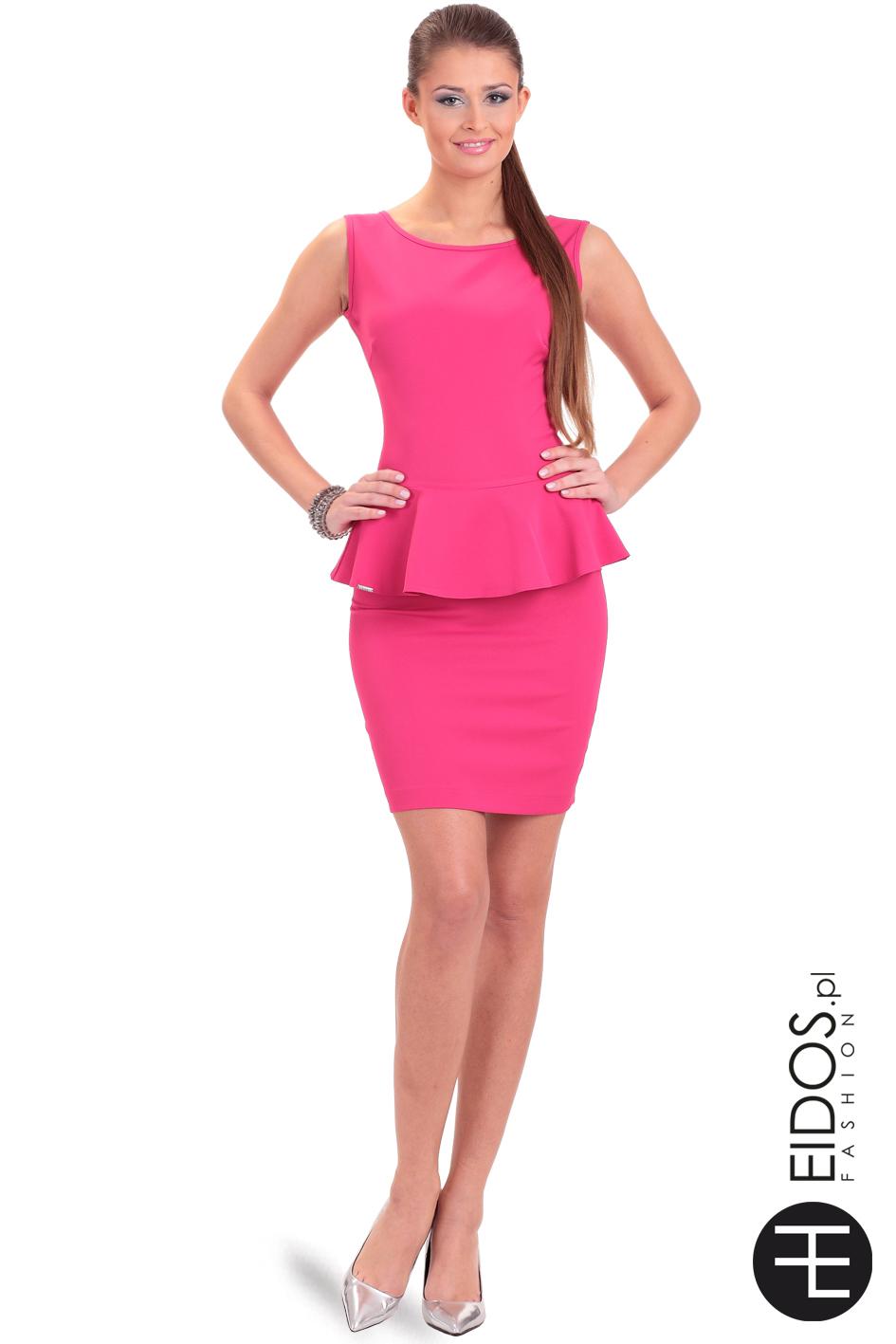 Sukienka Z Baskinką W Kolorze Fuksji Soft Eidospl