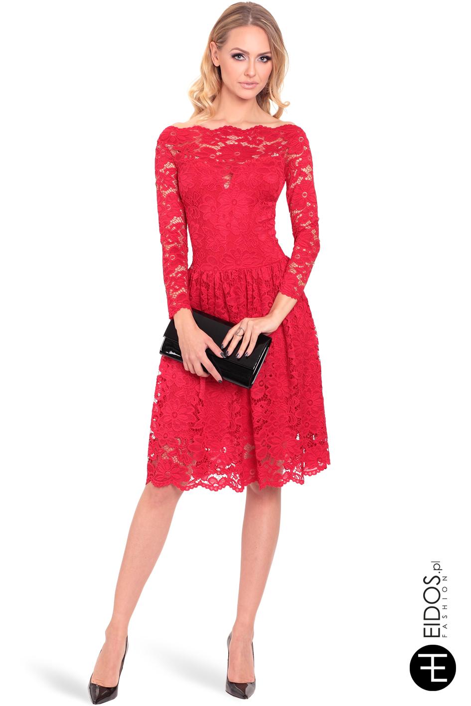 050ec035 Sukienka AMELIA czerwona koronka - EIDOS.pl