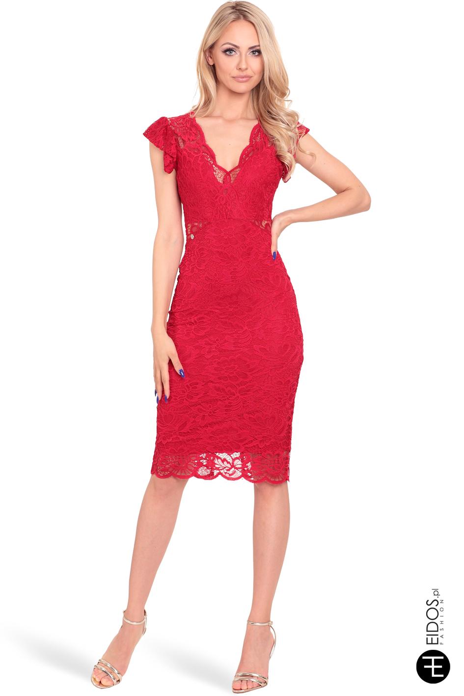 7e44a86b77dc83 Sukienka koronkowa ALIA czerwona - EIDOS.pl