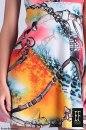 Sukienka KOLOROWE ŁAŃCUCHY ROZKLOSZOWANA ORYGINALNE PLECY ODKRYTE RAMIONA