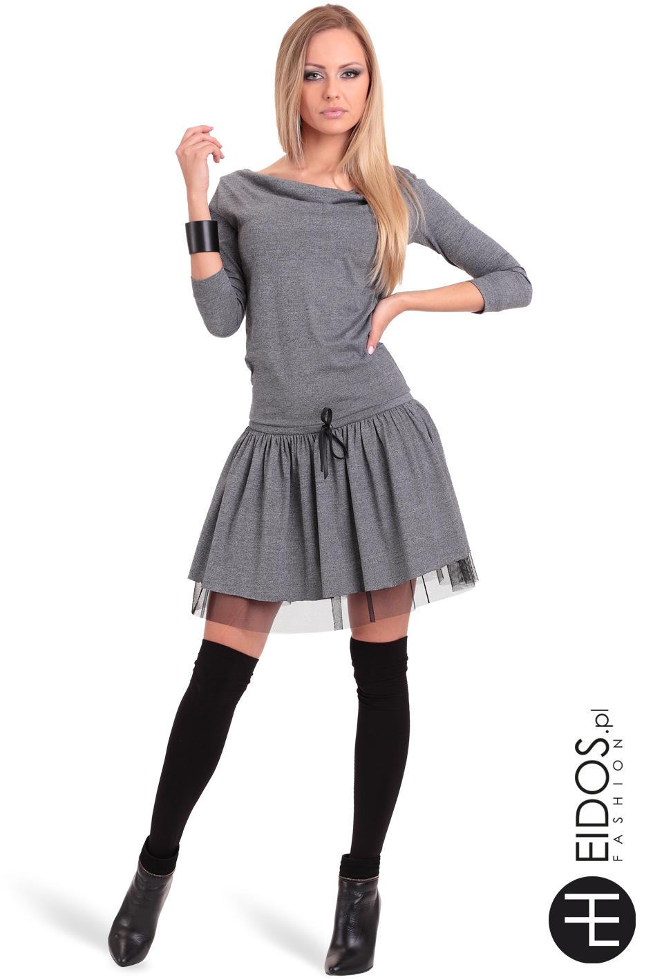 9450bfb136 Sukienka MARCELA szara bawełna - EIDOS.pl