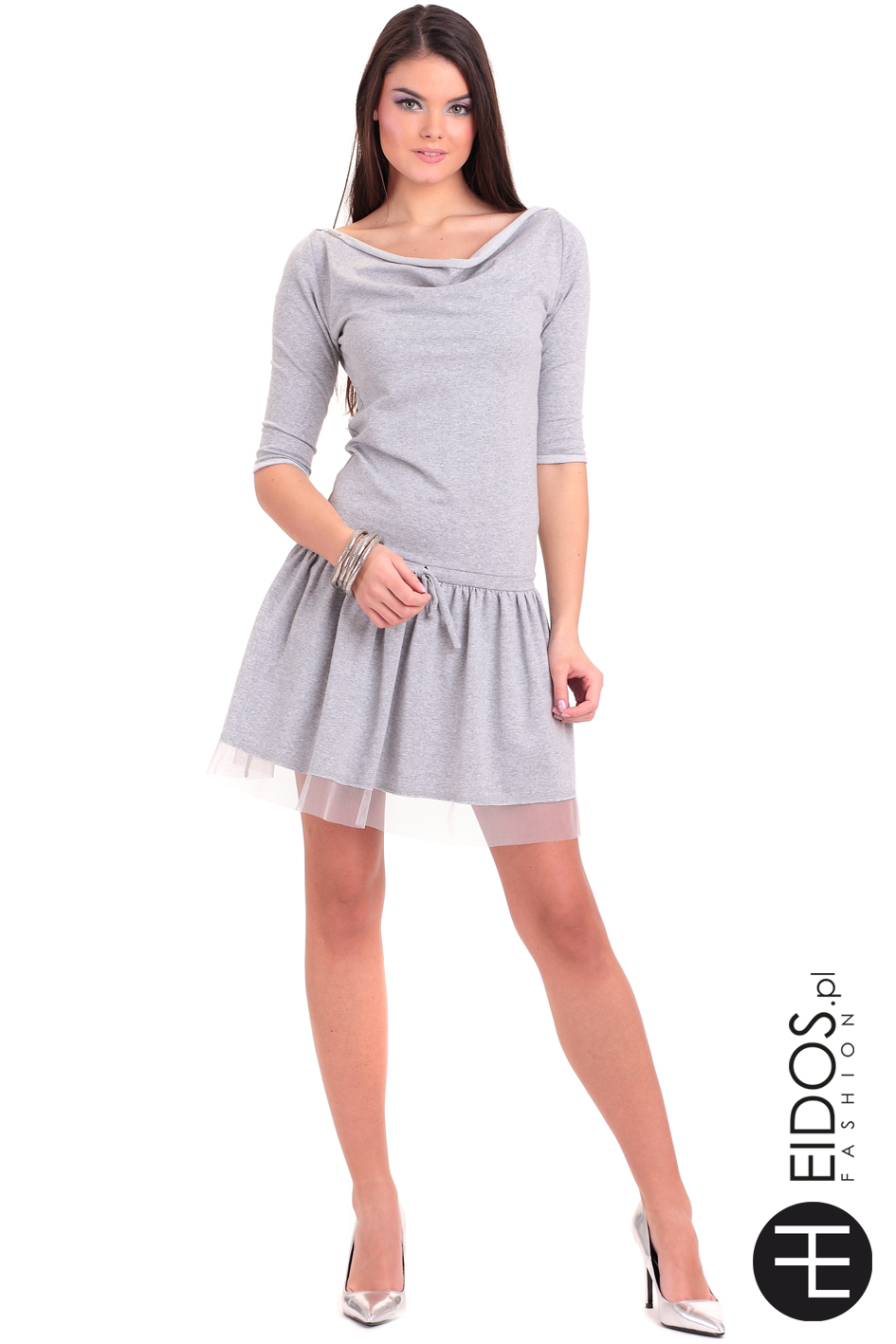 c6bed60cd3 Sukienka MARCELA SUMMER szara bawełna - EIDOS.pl