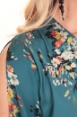 Sukienka NOVO zgaszony turkus w kwiaty